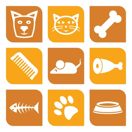 Collection of pet icons - illustration dogs and cats Vector