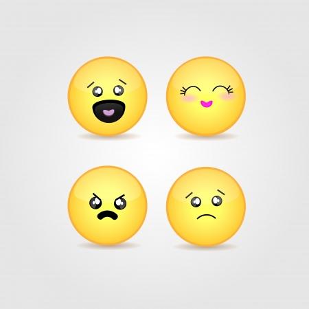 set of cute smiles. Vector