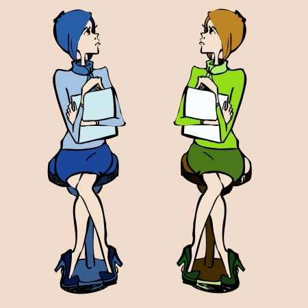 Illustration of two beautiful young student girls Vector