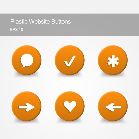 Plastic website buttons with icons Stock Vector - 19229241