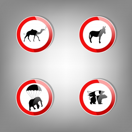 Animal warning signs illustration Vector