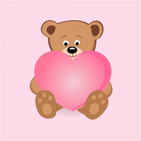 Cute teddy bear holding pink heart illustration Vector