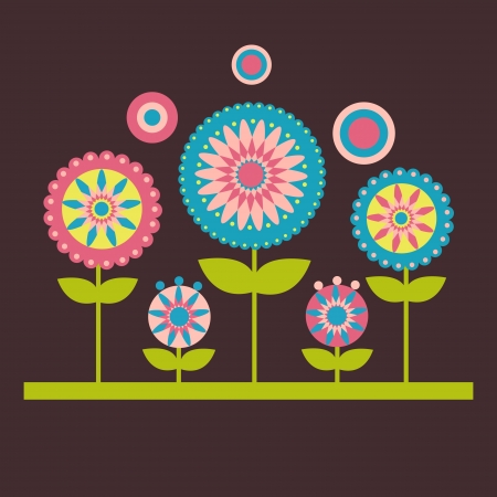 illustration of flowers on the dark background Vector