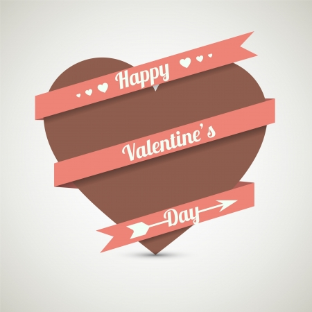 Heart with ribbon greeting card for Valentines day. Vector