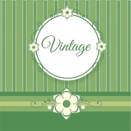 Vintage green background with flowers Vector