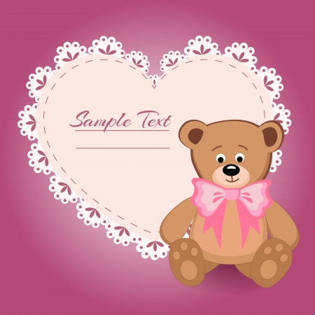 Teddy bear and big heart illustration Vector