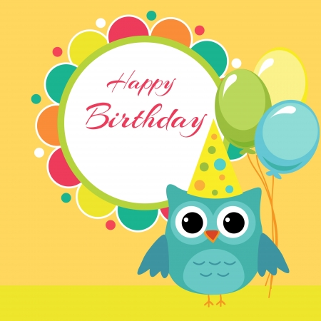 birthday party card with owl  Stock Vector - 19229126