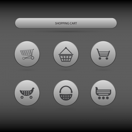 Simple icons of shopping carts and baskets Vector