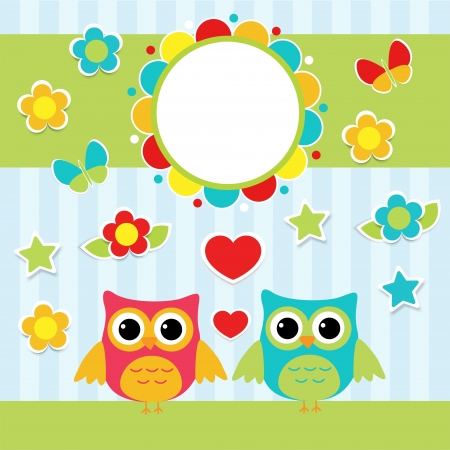 Illustration with couple of cute owls Stock Vector - 19244434