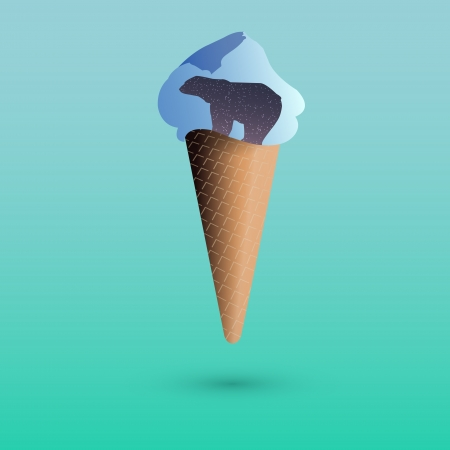 illustration of ice cream with polar bear. Vector