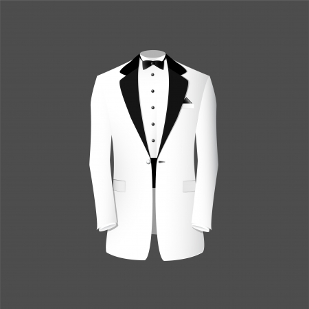illustration of a white tuxedo. Vector