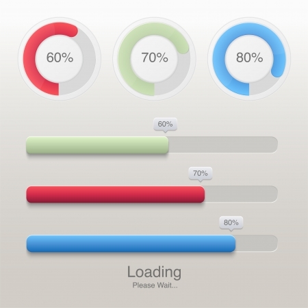 Collection of modern preloaders and progress loading bars Vector