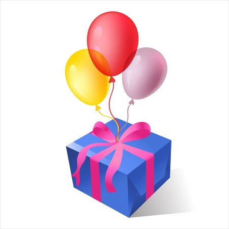 isolated gift boxes with balloons Vector