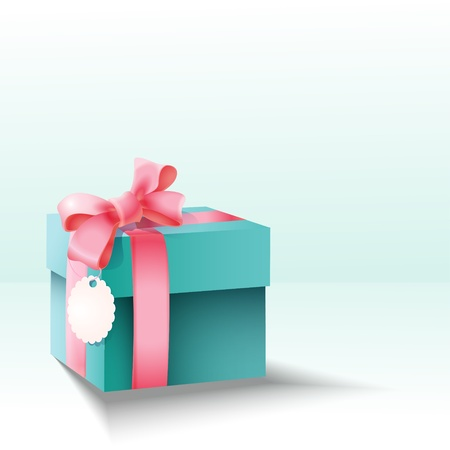 gift box with silk pink bow  Stock Vector - 19229287