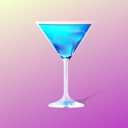 glass with a blue cocktail Vector