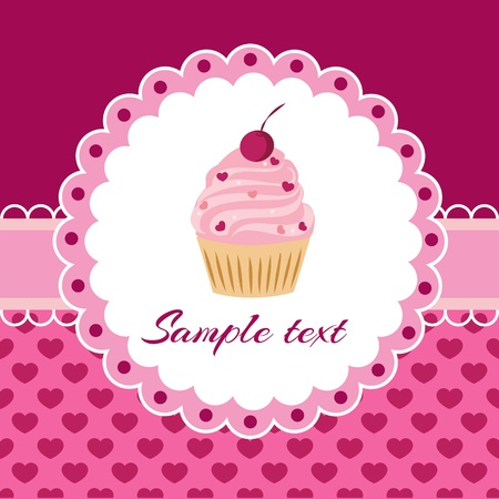 Vector card with cupcake. Place for text.