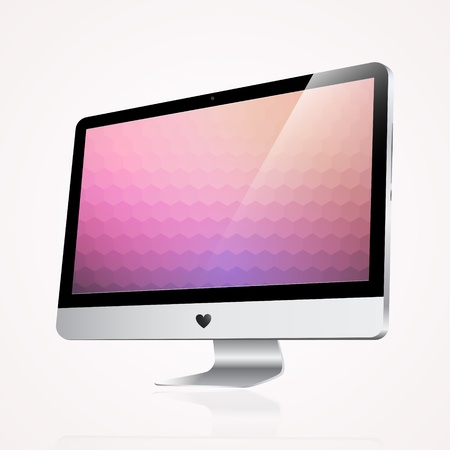 Computer display isolated on white Vector