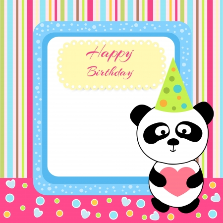 Vector cute panda with birthday card Vector