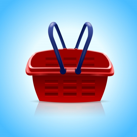 Red shopping basket on blue background.Vector Illustration Stock Vector - 19274314