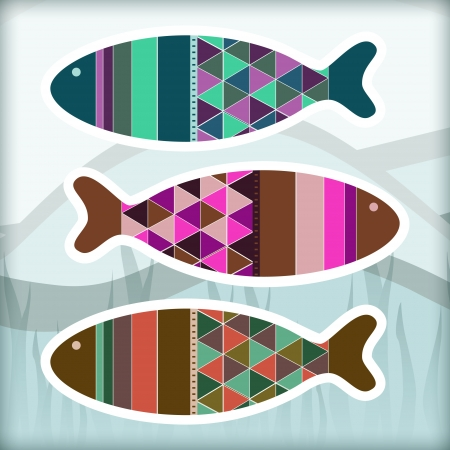 Ornamental aquarium fishes Vector
