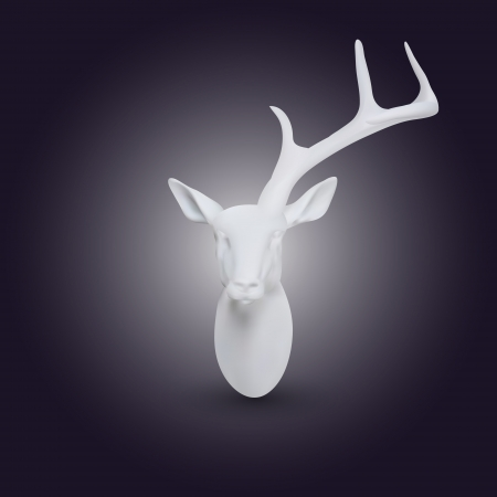 Vector white head of deer with one horn Vector