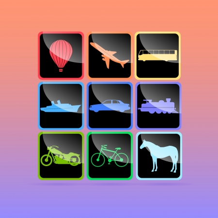 Means of transportation icon set. Vector illustration. Vector