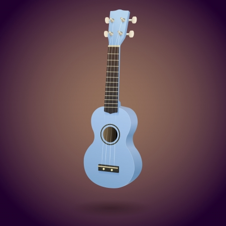 Vector illustration of blue ukulele - Hawaiian little guitar with four strings