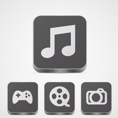 Vector set app media buttons Vector