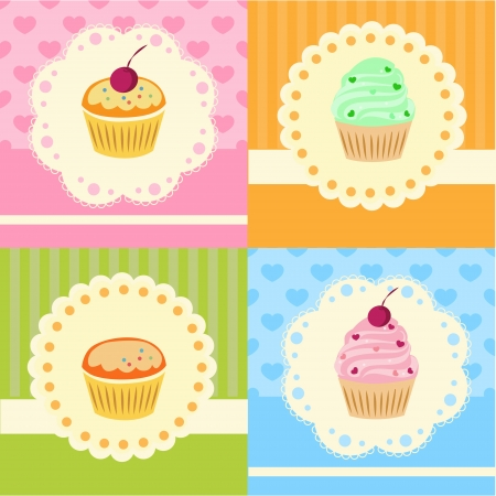 Set of vector cupcakes with lace Vector