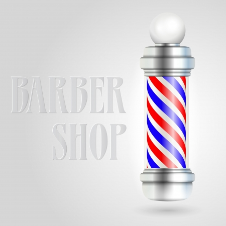 Barber shop pole with red and blue stripes. Illustration