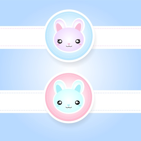 Cute couple of rabbits Vector
