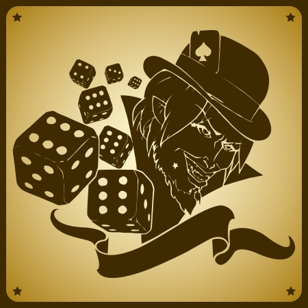 Vector illustration of joker and dices Vector