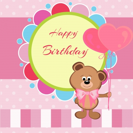 Happy birthday card with teddy bear and heart shaped balloons Illustration