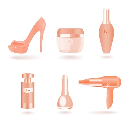 Women Female Cosmetic and Beauty Things Vector