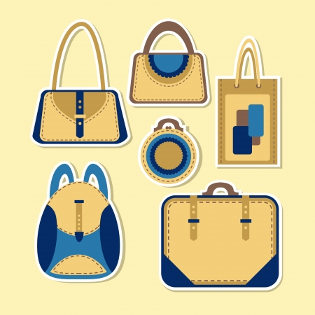 Cartoon woman's bag. Vector set Vector