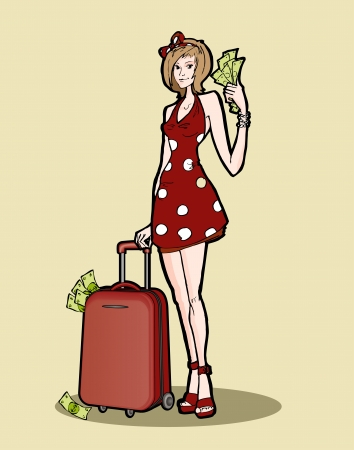 Woman with a luggage bag. Vector illustration. Stock Vector - 19274519