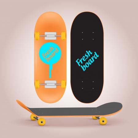Vector illustration of skateboard upper and lower side Vector