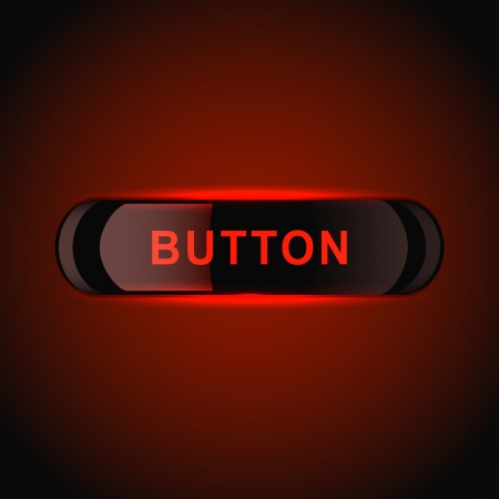 Red glowing button. Vector