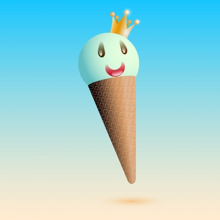 Vector illustration of smiling ice creame with crown Vector