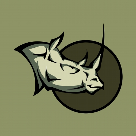Vector illustration of a angry rhino head Vector