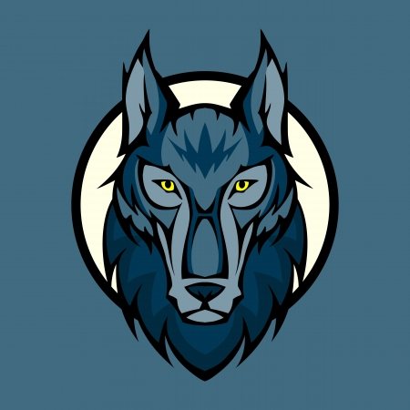 Vector illustration of wolf head in front Illustration