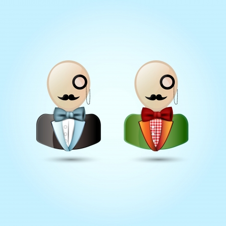 Faces with mustaches, monocle, suits, and a bow tie - vector illustration. Vector