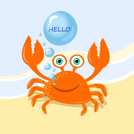 Funny cartoon crab message greeting Vector