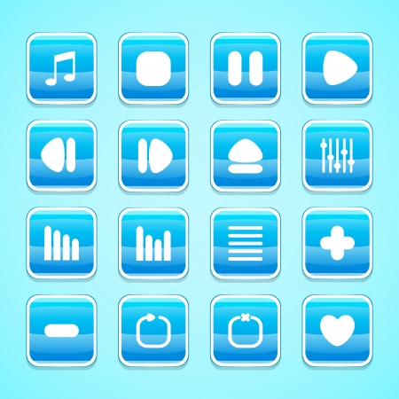 Media buttons, vector
