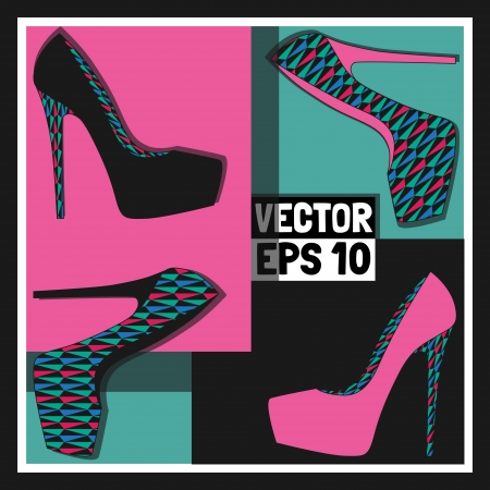 Fashion womens shoes, vector