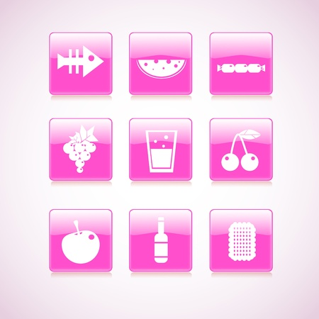 Food icon on square pink button collection. Vector illustration Vector