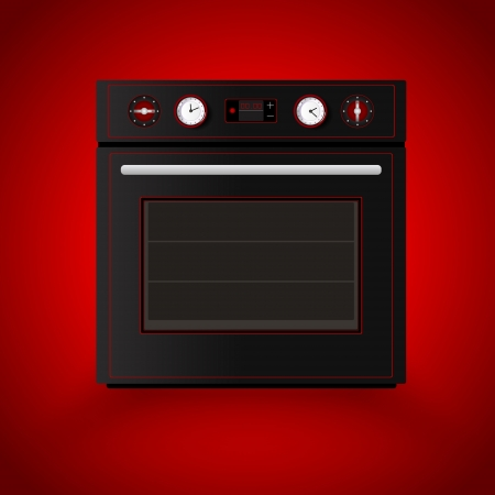 Kitchen oven on red background. Vector illustration Vector