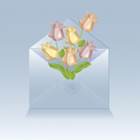 Open envelope with origami flowers Vector