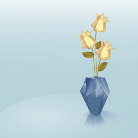 Blue origami vase with yellow roses Vector
