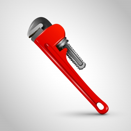 Monkey wrench, pipe wrench, plumber repair instrument, vector image on the white background